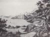Bordighera da Punta Migliarese (sepia De l'Epinois 1853) Museo Bicknell