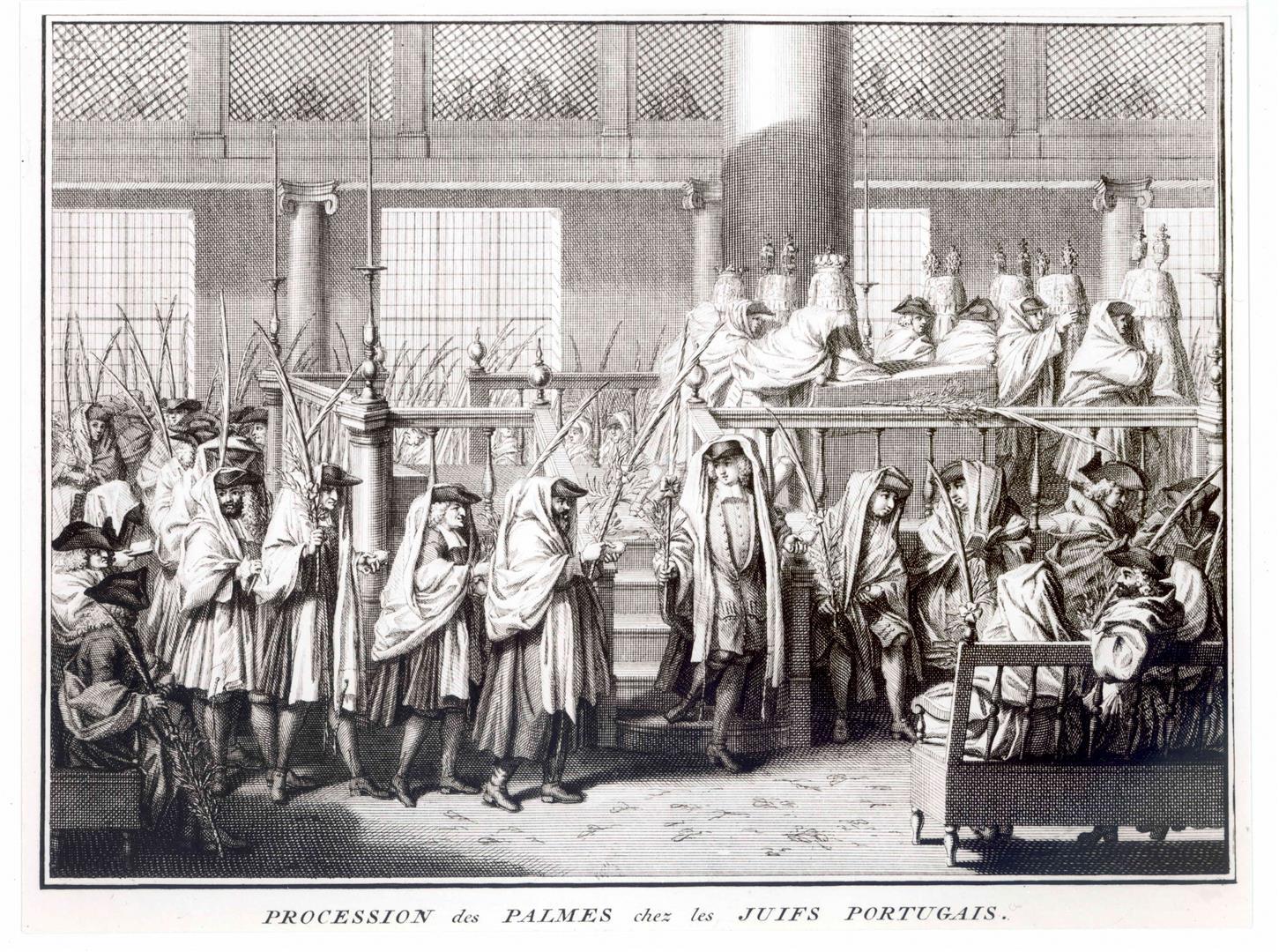 Soukkhot Bernard Picart, Antoine Auguste Procession des palmes chez les Juifs portugais Bruzen de La Martiniere - 1721